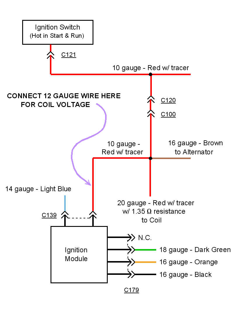 hei_ign_schematic hei ignition upgrade for the amc 258 12 Volt Alternator Wiring Diagram at bayanpartner.co